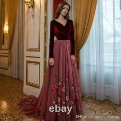 Vintage Burgundy Velvet Prom Dresses Long Sleeve Party Pageant Ball Evening Gown