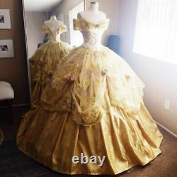 Vintage Princess Quinceanera Dresses Off Shoulder Yellow Prom Gown Cosplay Party