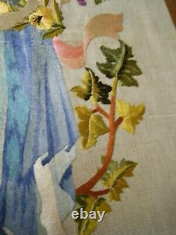 Vtg French Art &Craft hand embroidered lady piking grape wall picture to frame