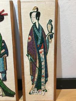 Vtg Gravel Art Picture Mosaic Pebble Asian Man And Woman Mid Century Modern