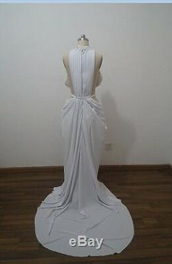 White High Neck Evening Dresses Mermaid Crystal Formal Party Prom Gowns Custom