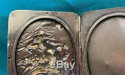William B Kerr Sterling Silver Nude Woman in Ocean Waves Double Picture Frame