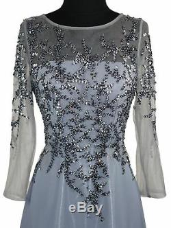 Women Beaded Sequins Mother of the Bride Dress A Line 3/4 Long Sleeves Custom