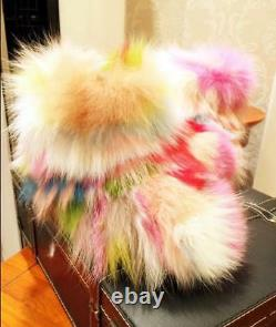 Women's Luxury Multi Color Real Fox Fur Snow Ankle Boots Winter Warm Flats Shoes