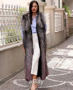 Women's Whole Skin Real Silver Fox Fur Vest Slim Gilet Waistcoat Thick Outerwear